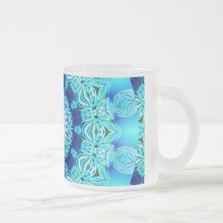 Blue Ice Lace Doily, Abstract Aqua Coffee Mugs