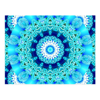 Blue Ice Lace Doily, Abstract Aqua Post Card