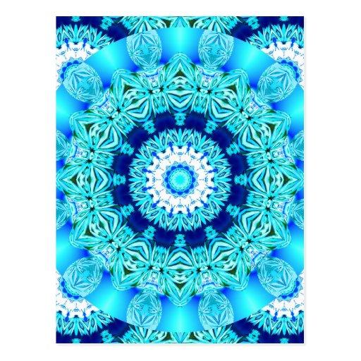 Blue Ice Lace Doily, Abstract Aqua Postcard