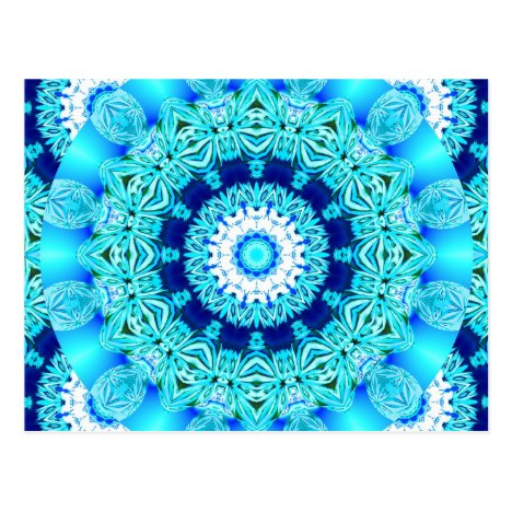 Blue Ice Lace Doily, Abstract Aqua Postcard