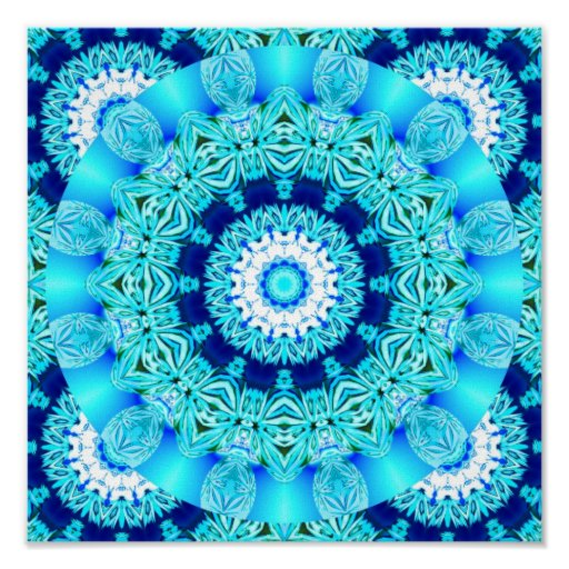 Blue Ice Lace Doily, Abstract Aqua Poster