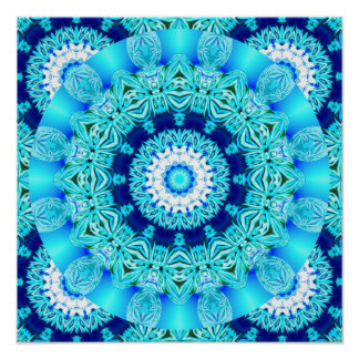 Blue Ice Lace Doily, Abstract Aqua Posters