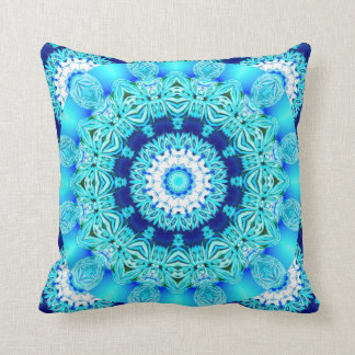 Blue Ice Lace Doily, Abstract Aqua Throw Pillow