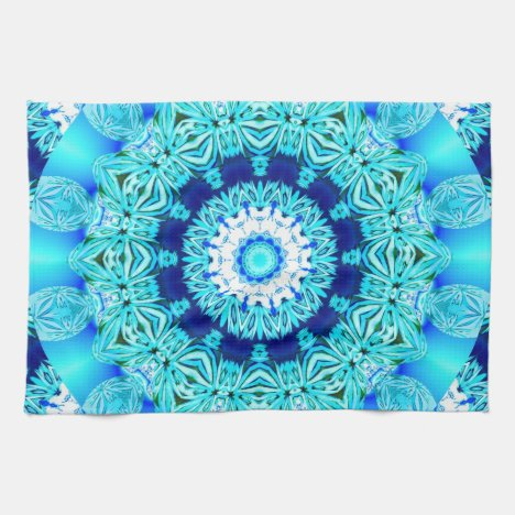 Blue Ice Lace Doily, Abstract Aqua Towel