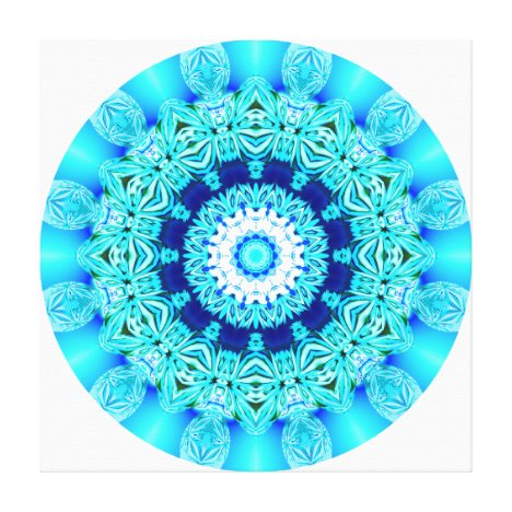 Blue Ice Lace Mandala, Abstract Aqua Canvas Print