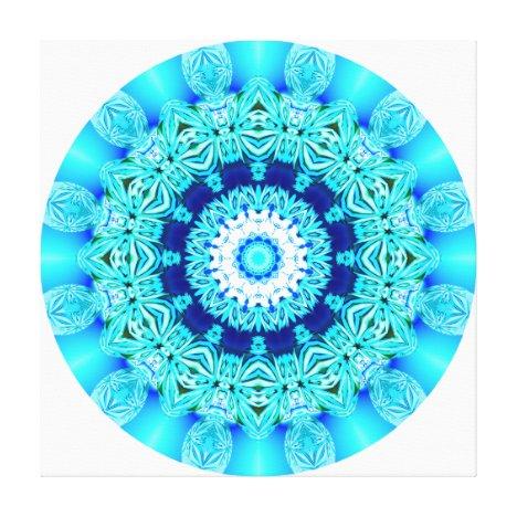Blue Ice Lace Mandala, Abstract Aqua Canvas Print