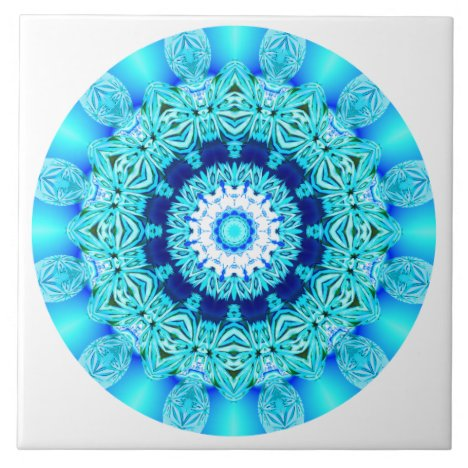 Blue Ice Lace Mandala, Abstract Aqua Ceramic Tile
