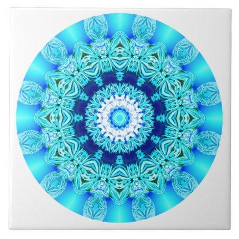 Blue Ice Lace Mandala, Abstract Aqua Ceramic Tile