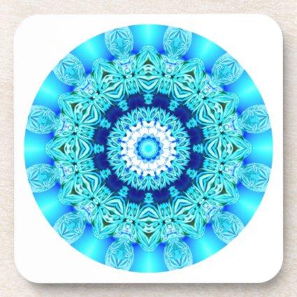 Blue Ice Lace Mandala, Abstract Aqua Beverage Coaster