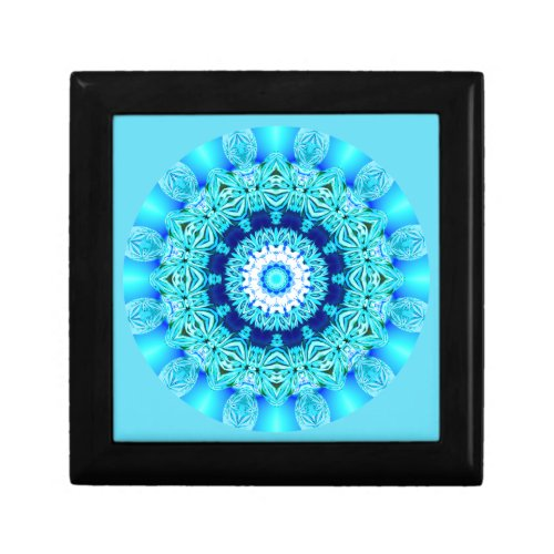 Blue Ice Lace Mandala, Abstract Aqua Keepsake Box