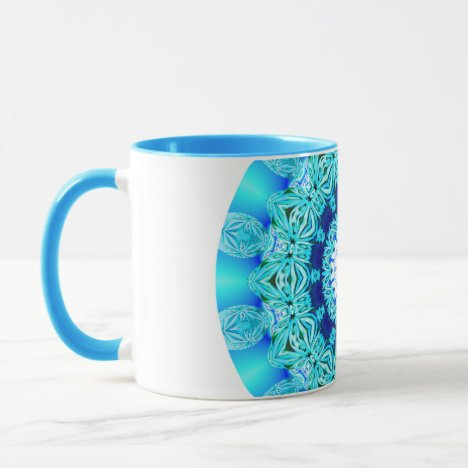 Blue Ice Lace Mandala, Abstract Aqua Mug