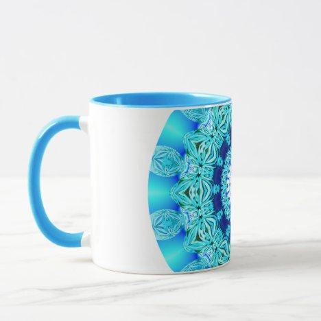 Blue Ice Lace Mandala, Abstract Aqua Mug