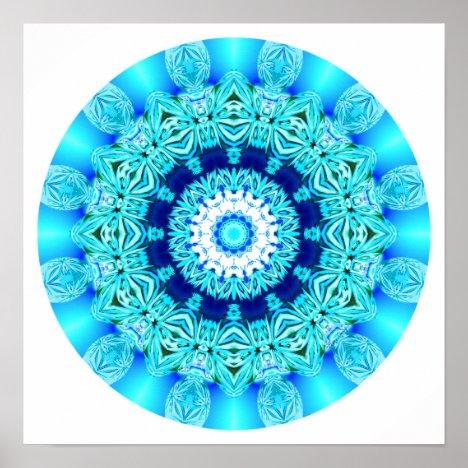 Blue Ice Lace Mandala, Abstract Aqua Poster