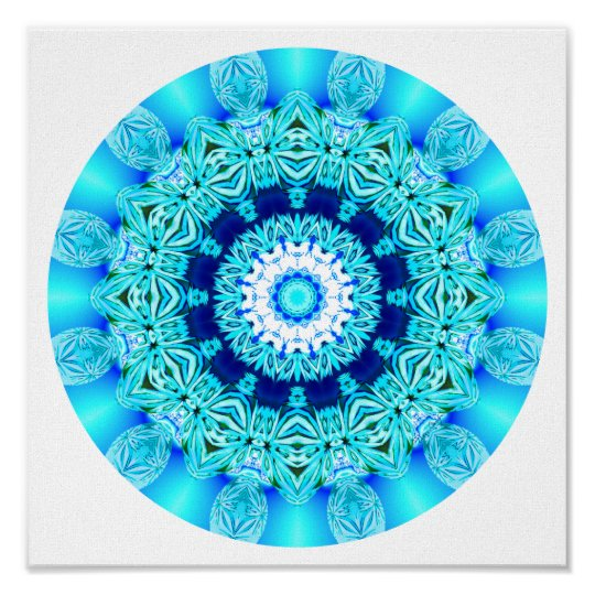 Blue Ice Lace Mandala, Abstract Aqua Poster