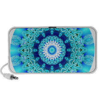 Blue Ice Lace Mandala, Abstract Aqua Notebook Speaker