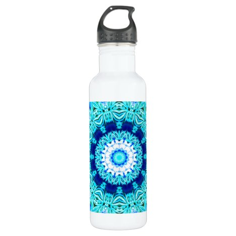 Blue Ice Lace Mandala, Abstract Aqua Stainless Steel Water Bottle