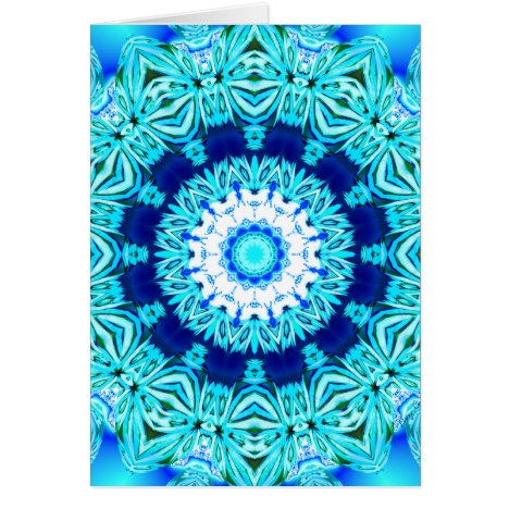 Blue Ice Lace Mandala, Abstract Cyan