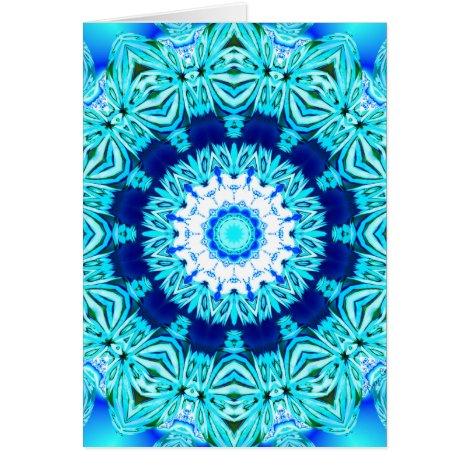 Blue Ice Lace Mandala, Abstract Cyan