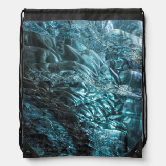 Blue ice of an ice cave, Iceland Drawstring Backpack