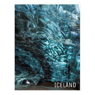 Blue ice of an ice cave, Iceland Postcard