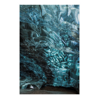 Blue ice of an ice cave, Iceland Poster