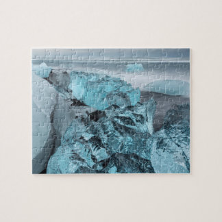 Blue ice on beach seascape, Iceland Jigsaw Puzzle