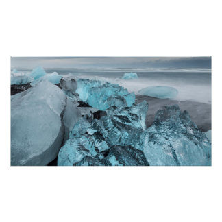 Blue ice on beach seascape, Iceland Poster