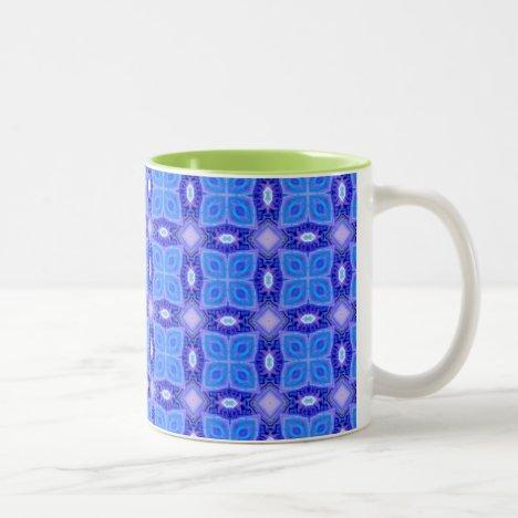 Blue Ice Purple Lattice Modern Hawaiian Quilt Two-Tone Coffee Mug