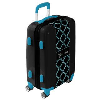 Blue Ice Quatrefoil on Black Background Luggage