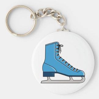 Blue Ice Skate Basic Round Button Keychain