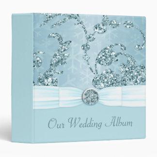 Blue Ice Sparkle Wonderland Wedding 3 Ring Binder