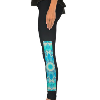 Blue Ice Star, Abstract Aqua Turquoise Mandala Legging Tights