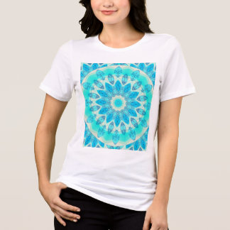 Blue Ice Star, Abstract Aqua Turquoise Mandala Tshirts