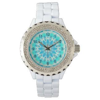 Blue Ice Star, Abstract Aqua Turquoise Mandala Wrist Watch