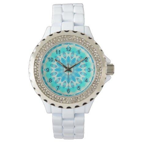 Blue Ice Star, Abstract Aqua Turquoise Mandala Wristwatch