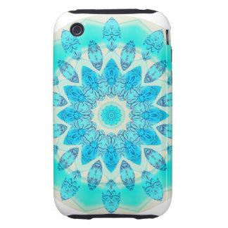 Blue Ice Star Mandala, Abstract Aqua Joyful Light iPhone 3 Tough Case