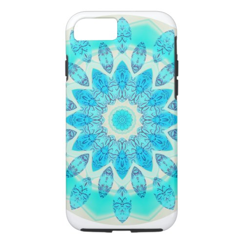 Blue Ice Star Mandala, Abstract Aqua Joyful Light iPhone 8/7 Case