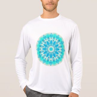 Blue Ice Star Mandala, Abstract Aqua Joyful Light T-Shirt