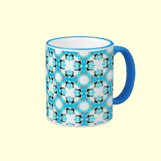 Blue Ice Stars Aqua Modern Abstract Lattice Coffee Mug