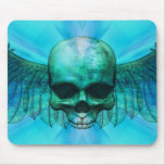 Blue Ice Winged Skull Mousepads