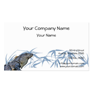 Blue Iguana with Blue Leaves Background Double-Sided Standard Business Cards (Pack Of 100)