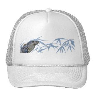 Blue Iguana with Blue Leaves Cap Mesh Hats