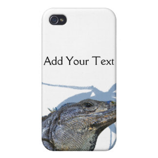 Blue Iguana with Blue Leaves  Cover For iPhone 4