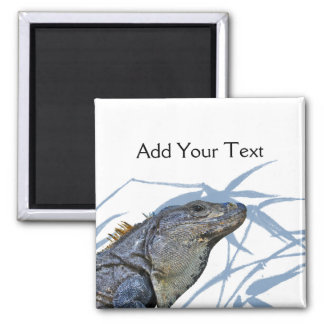 Blue Iguana with Blue Leaves Magnet