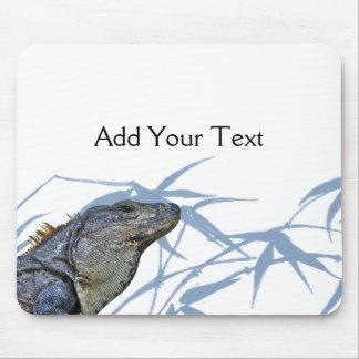 Blue Iguana with Blue Leaves Mousepad