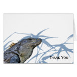 Blue Iguana with Blue Leaves Note Card