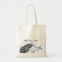 Blue Iguana with Blue Leaves Tote Bag