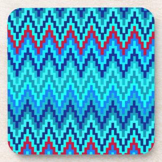 Blue Ikat Chevron Geometric Zig Zag Stripe Pattern Coaster