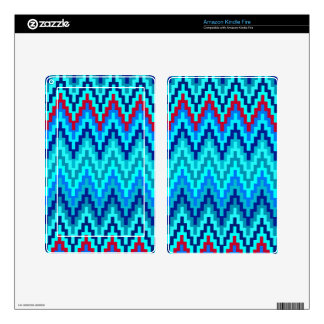 Blue Ikat Chevron Geometric Zig Zag Stripe Pattern Decal For Kindle Fire