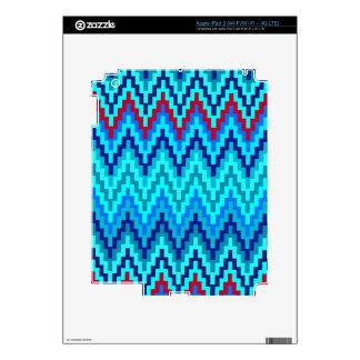 Blue Ikat Chevron Geometric Zig Zag Stripe Pattern Decals For iPad 3